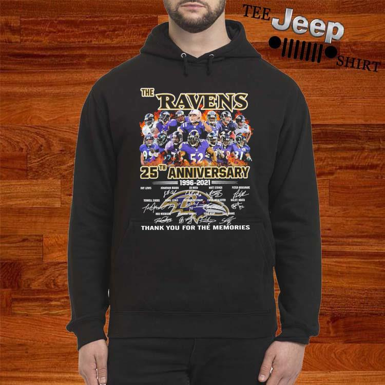 The Ravens 25th Anniversary 1996 2021 Thank You For The Memories Signatures Shirt hoodie