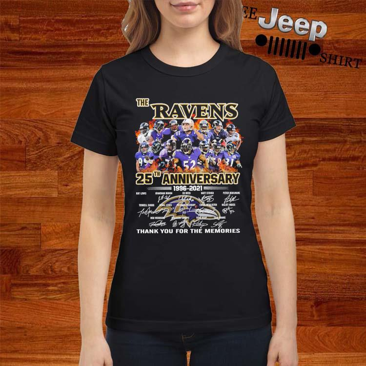 The Ravens 25th Anniversary 1996 2021 Thank You For The Memories Signatures Shirt ladies-shirt